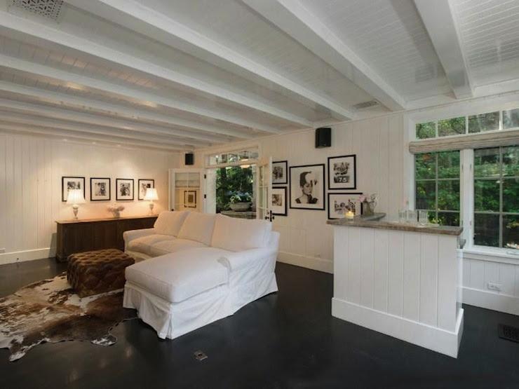 Ebonized Wood Floors - Transitional - living room - Rachel Ashwell