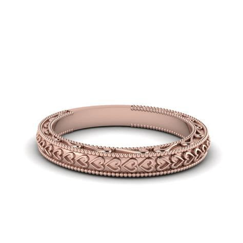 Heart Filigree Milgrain Womens Wedding Band In 14K Rose