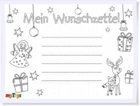 wunschzettel weihnachten zum ausmalen - weihnachtsmotiv