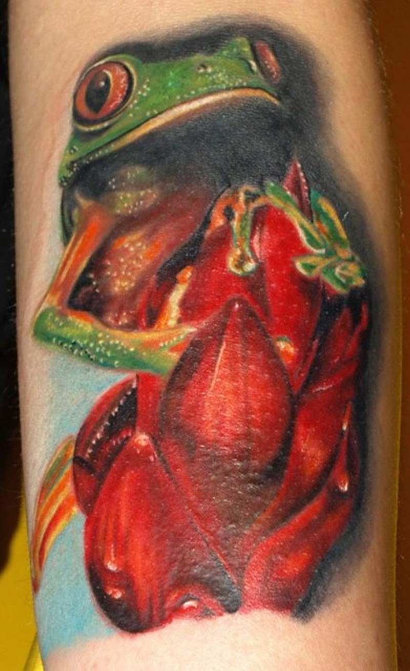 Frog With Red Flower Tattoo Design Tattoos Book 65000 Tattoos