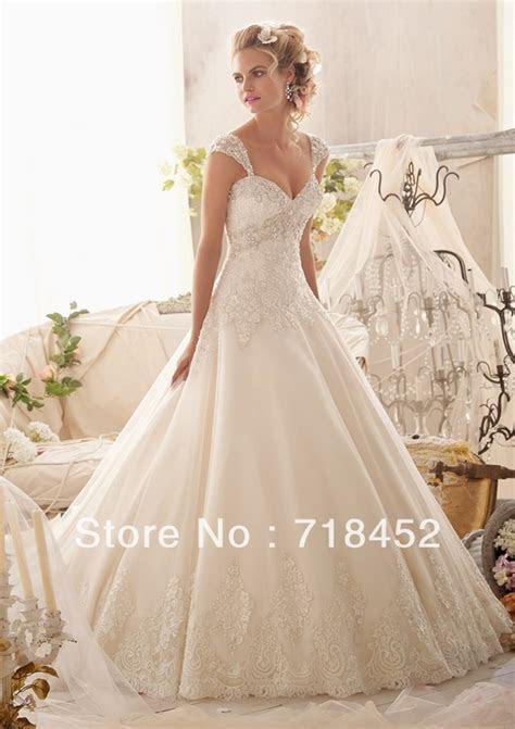 Princess Wedding Dress Ball Gown Cap Sleeve Detachable