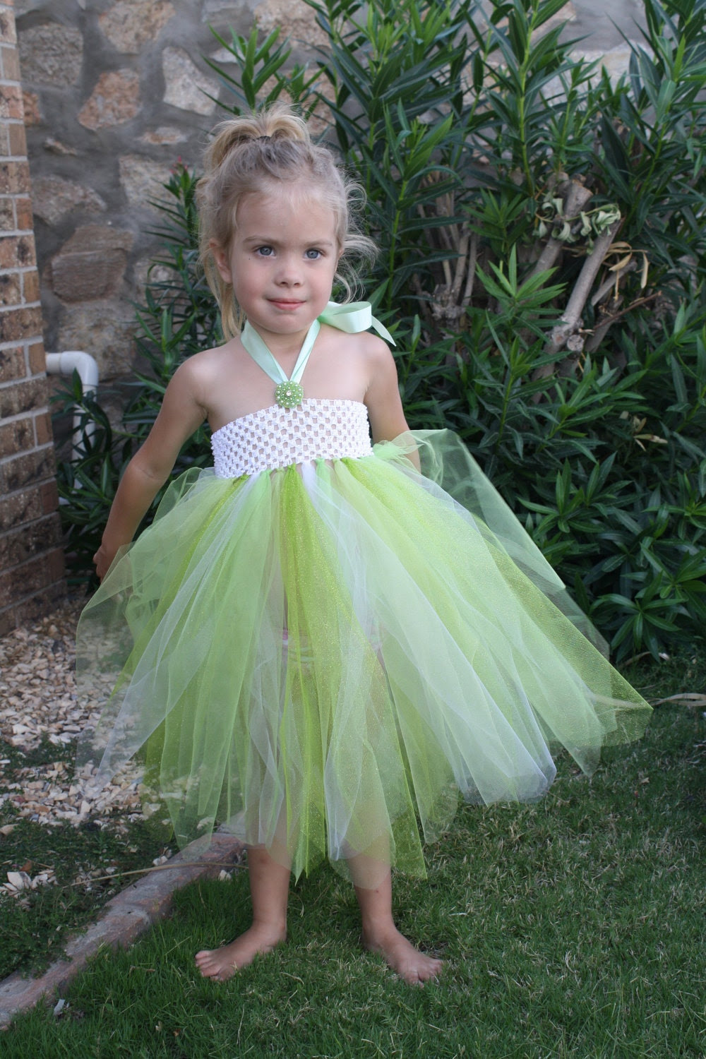Epilepsy Awareness Tinkerbell Green Tutu Dress w/ Monogram Pin/Embellishment