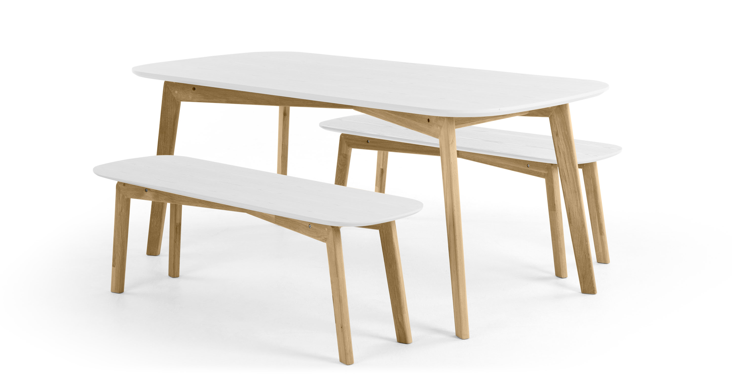 Dante Dining Table and Bench Set, Oak and White  made.com