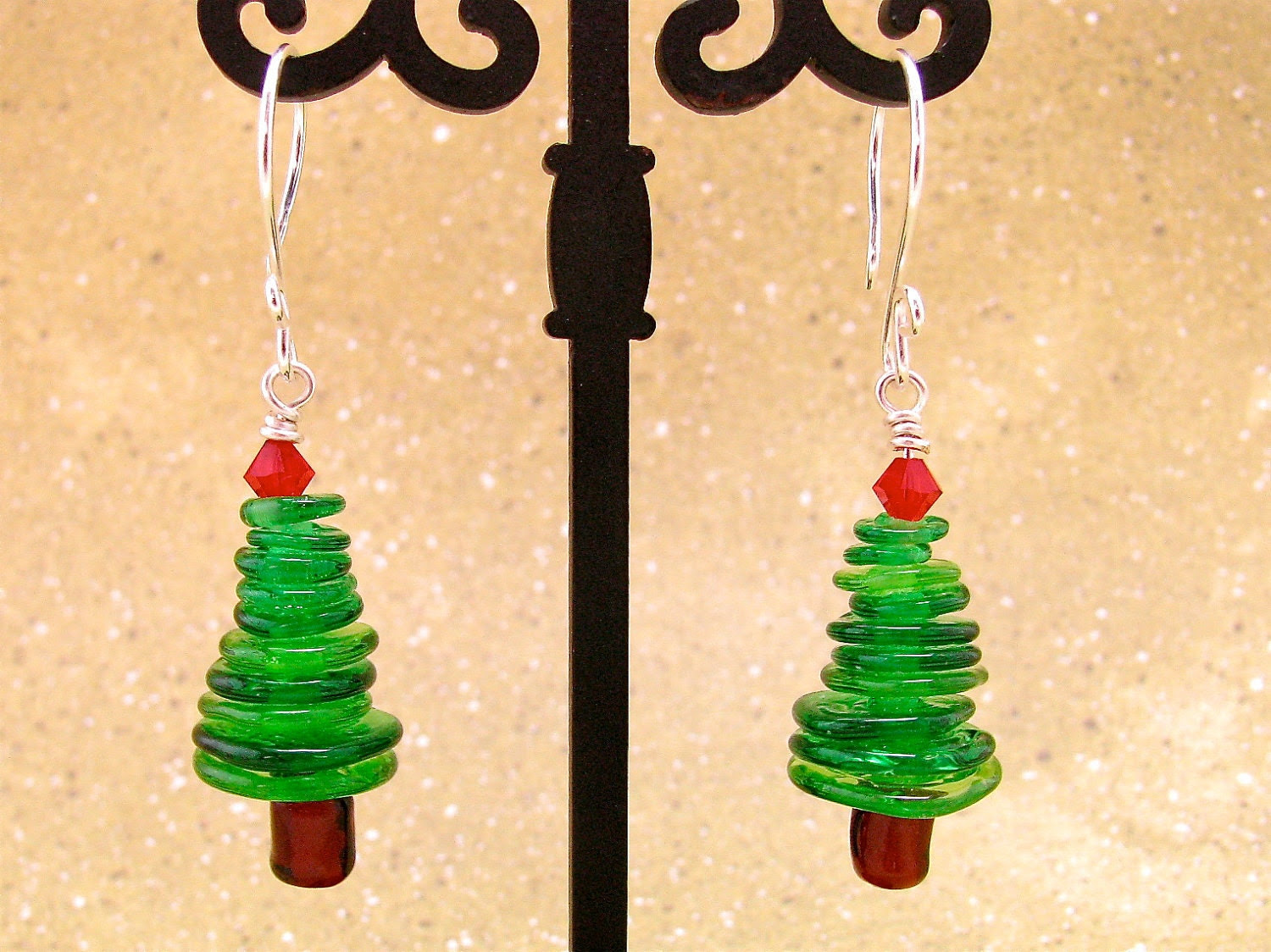 Christmas Tree Lampwork Bead Earrings