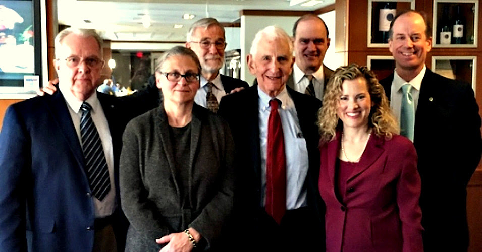 Photo of (left to right) Kirk Wiebe, Coleen Rowley, Raymond McGovern, Daniel Ellsberg, William Binney, Jesselyn Radack, and Thomas Drake. (Photo: Kathleen McClellan/ Government Accountability Project)