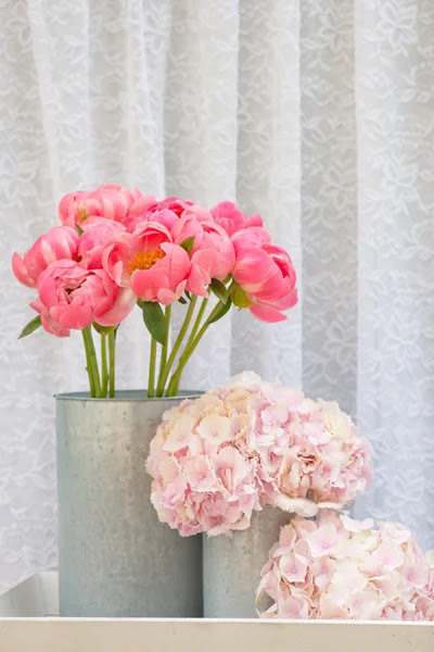 Flower Bouquets Bunch Of Pink Peony And Hydrangea Flowers Stock Images Page Everypixel