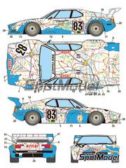 Calcas 1/24 Studio27 - BMW M1 Grupo A Carte de France Antar Nº 83 - Didier Pironi + Dieter Quester + Marcel Mignot - 24 Horas de Le Mans 1980 - para kit de Revell REV07247
