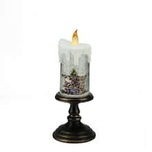 """Buy the 10.25"""""""" LED Flameless Glitter Santa Candle at Michaels"""