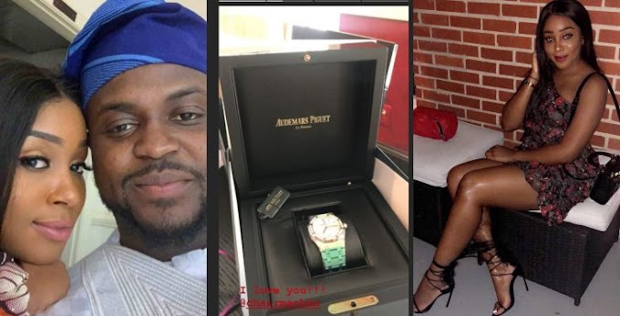 Davido's brother, Adewale Adeleke gifts girlfriend a N9million watch for her birthday