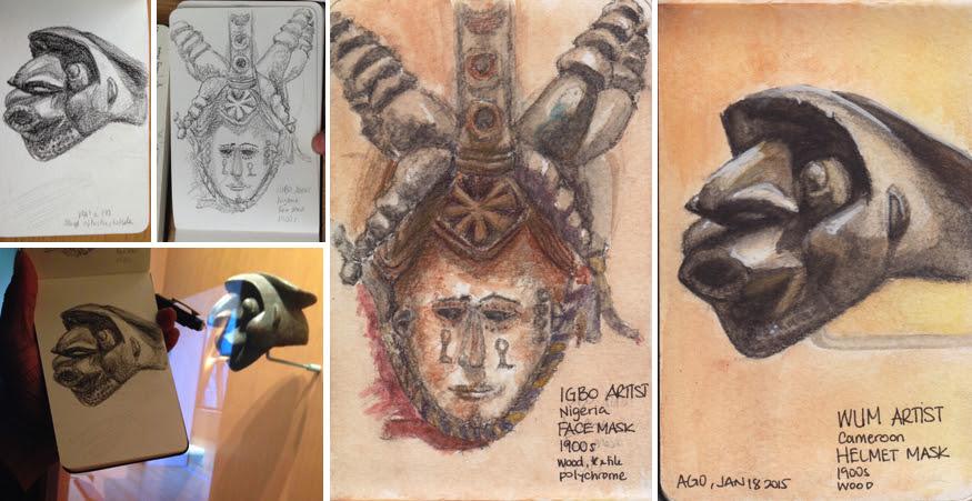 Toronto Urban Sketchers Art Gallery of Ontario AGO African art sculptures and masks