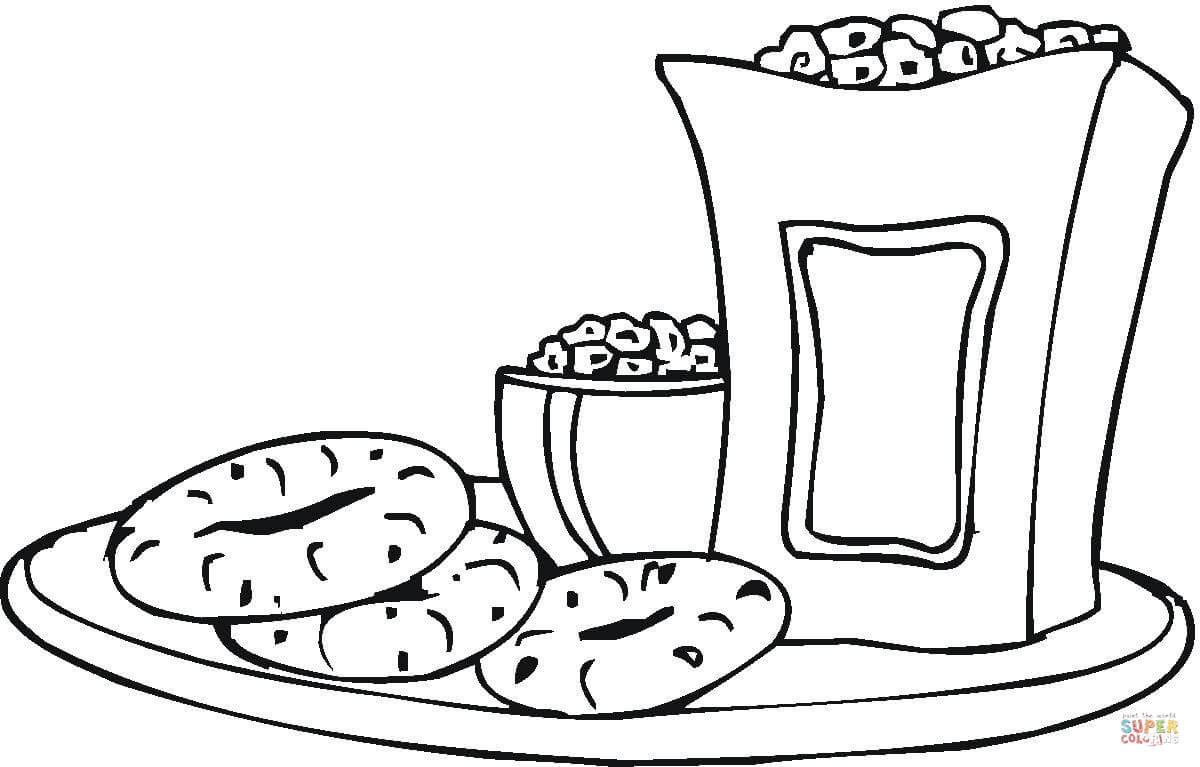 snacks coloring page