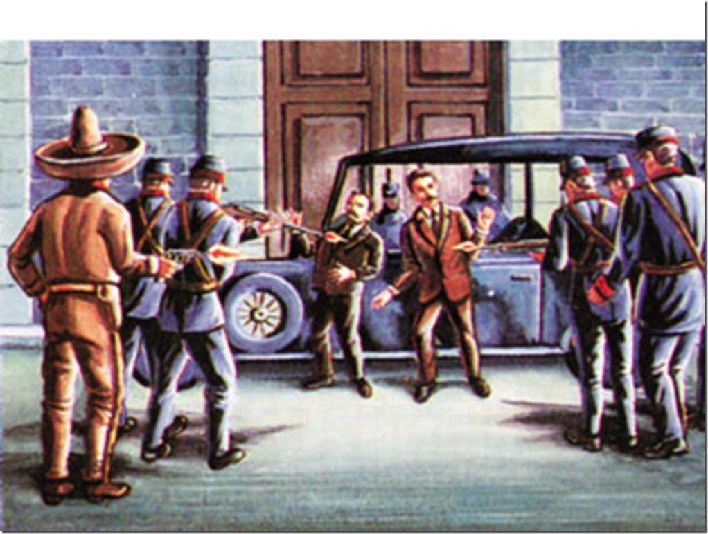 Representación (un tanto burda) de la ejecución de Madero y Pino Suárez
