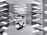 Bimbo runs in terror through a series of slamming deadly doors in Bimbo's Initiation cartoon