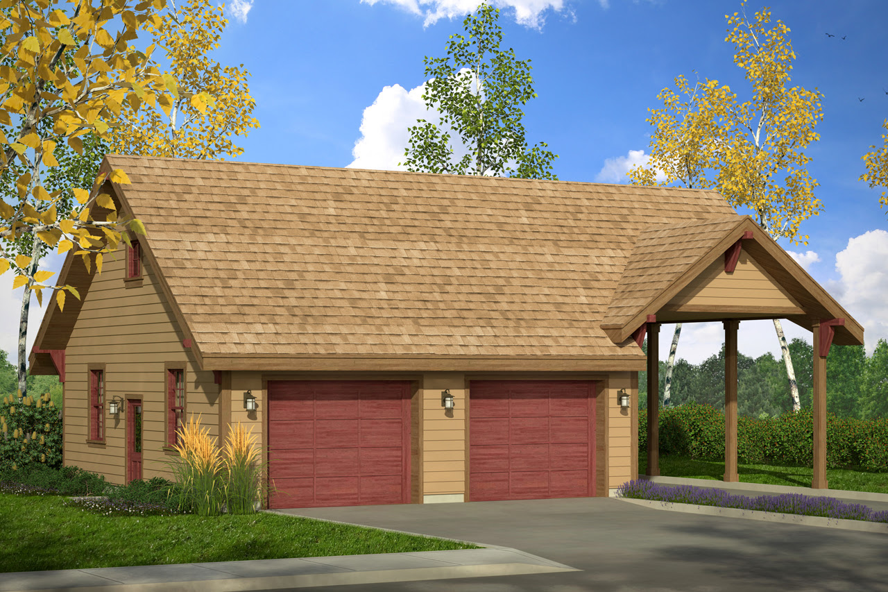 Country House Plans - Garage w/Carport 20-092 - Associated ...