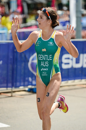 Ashleigh Gentle - 2015 Mooloolaba ITU Triathlon World Cup Women - 2015 Mooloolaba Triathlon Multi Sport Festival, Sunshine Coast, Qld, AUS; Saturday 14 March 2015. Photos by Des Thureson - http://disci.smugmug.com. Camera 1.
