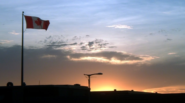 Canada Flag at Sunset