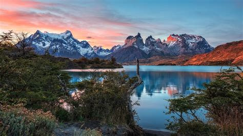 torres del paine mountains lake  chile full hd wallpaper