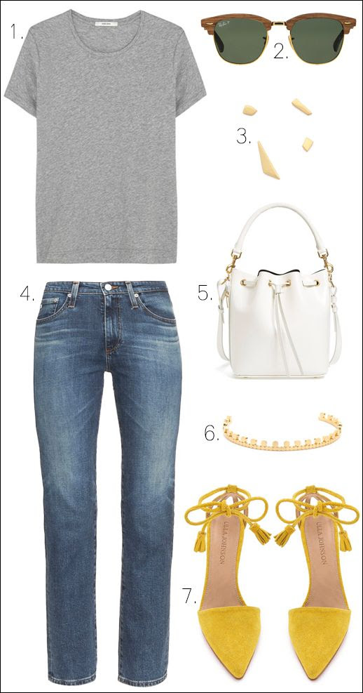 Le Fashion Blog How To Wear More Color Casual Chic Style Grey Tee Ray-Ban Wood Sunglasses Madewell Mis Matched Earrings Alexa Chung AG Jeans Saint Laurent White Bucket Bag Vanessa Mooney Cuff Bracelet Ulla Johnson Tassel Yellow Suede Heels