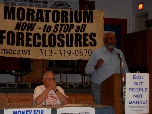 "Abayomi Azikiwe, editor of the Pan-African News Wire, speaking at the Moratorium NOW! conference on ""How the Banks Destroyed Detroit"" held at UAW Local 22 on Saturday, June 11, 2011. Over 20 speakers addressed the event. (Photo: Abayomi Azikiwe) by Pan-African News Wire File Photos"
