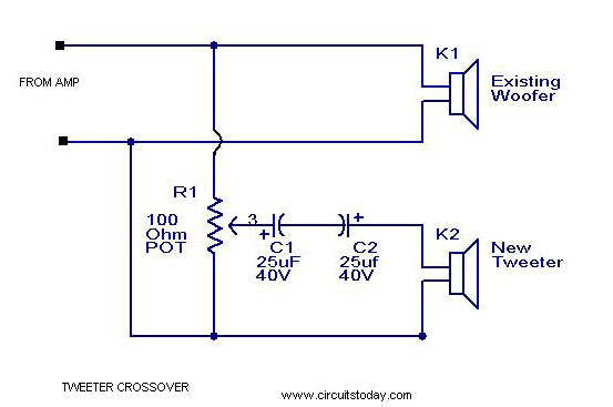 circuit diagram of a 15inches speaker cross over