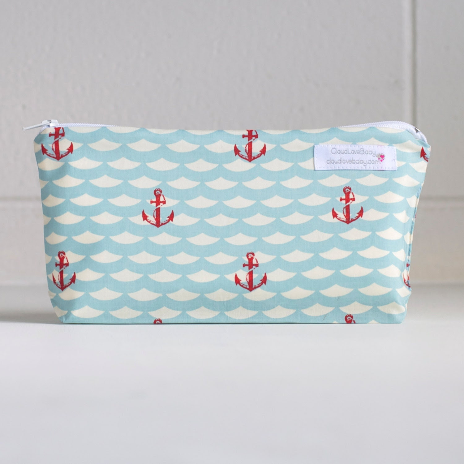 wet bag. extra small. organic cotton. nautical. summer. - CloudLoveBaby
