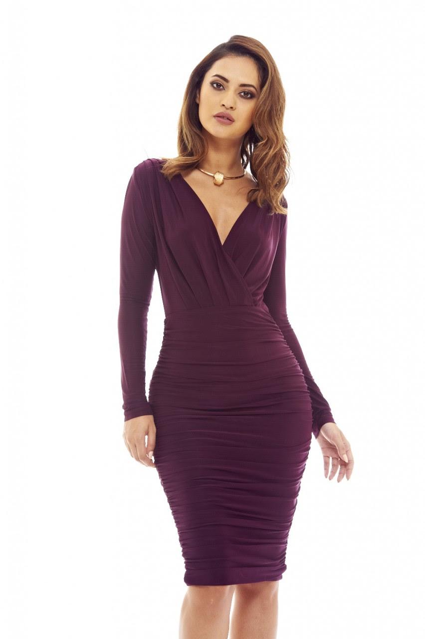 Plum purple bodycon dress