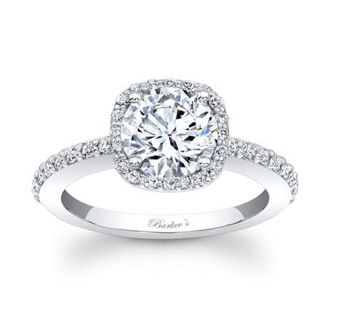 Barkev's White Gold Halo Engagement Ring 7838L   Barkev's