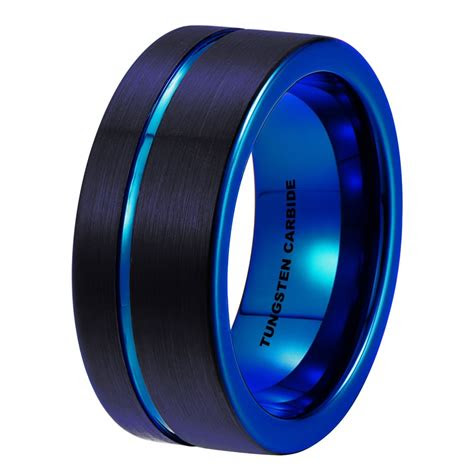 mens blue black pipe cut brushed tungsten ring