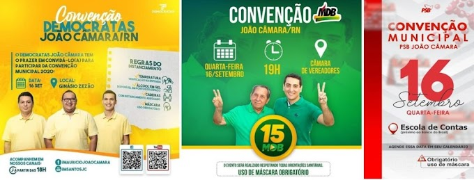 João Câmara: Convenções do DEMOCRATAS, MDB e PSB acontecem nesta quarta-feira