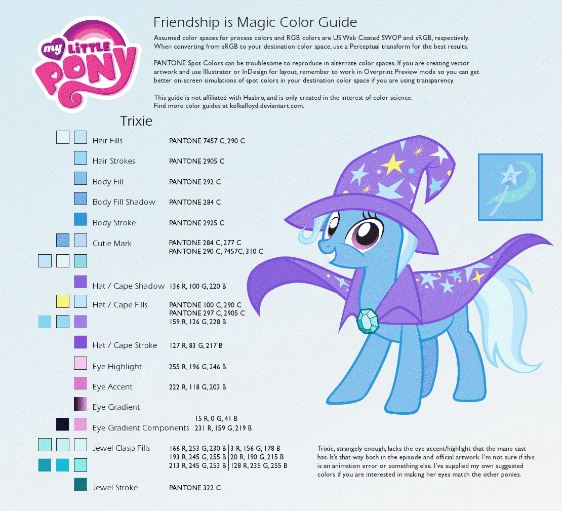 http://kefkafloyd.deviantart.com/art/Trixie-Color-Guide-215463118