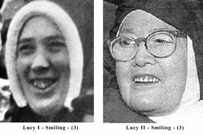 Smiling and teeth differences between the two Sister Lucy's
