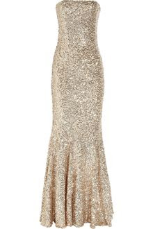 Rachel Gilbert Shayla Sequined Tulle Gown in Gold - Lyst
