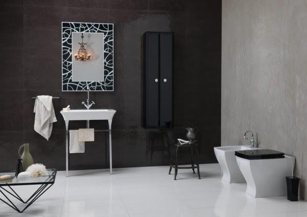 Bruna Rapisarda Art deco elements monochrome bathroom