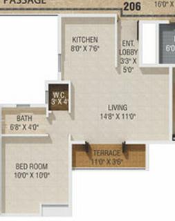 1 BHK Flat in Gagan Akanksha Prayagdham - 410 Carpet + Terrace - 2nd to 7th Floor - Rs. 14,67,224 + 75,000 Parking +16,800 Advance Maintenance of 24 Months + 30,000 Corpus fund