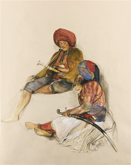 John Frederick Lewis, ALBANIAN GUARDS IN BURSA, TURKEY