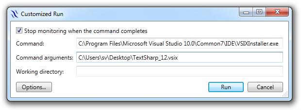 Runtime Flow customized run settings for VSIX installer monitoring
