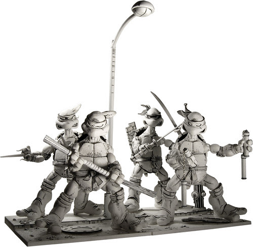 TMNT Black & White Box Set Comic Con Exclusive  4 pack with ALL accessories & Stands //  Preview [[ NECA ONLINE PIX ]]