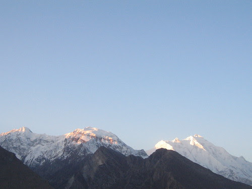 Sunrise over ? Rakaposhi ? and neighbour