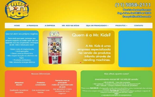 A Mr. Kids trabalha com a venda de licenciados no ramo de entretenimento em geral, com máquinas de doces, brinquedos e outros produtos infantis - Valor de investimento: R$ 18,5 mil. Foto: Divulgação
