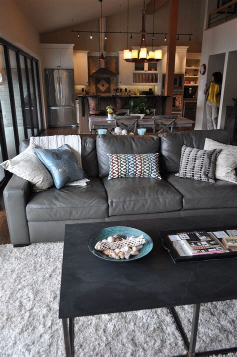 grey leather couch ideas  pinterest