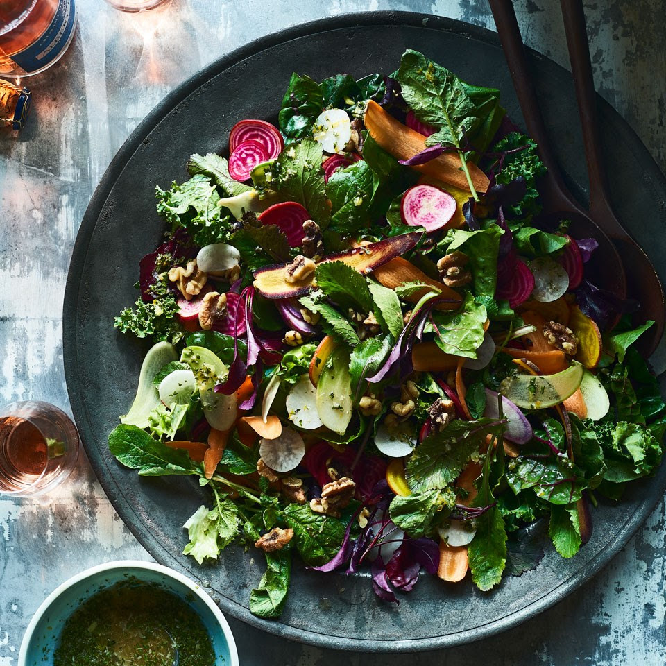 Greens & Roots Salad with Citrus-Walnut Vinaigrette