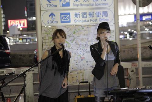 Mai and Mami of Red Pepper Girls performing at Shinjuku 4