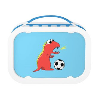 Blue Funny Cartoon Dinosaur Soccer Lunch Box