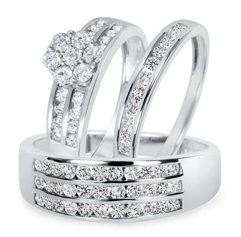 1 1/2 CT. T.W. Diamond Trio Matching Wedding Ring Set 14K