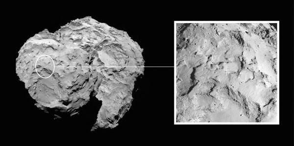 An image showing the primary landing site (Site J) for the Rosetta spacecraft's Philae lander, on comet 67P/Churyumov-Gerasimenko.