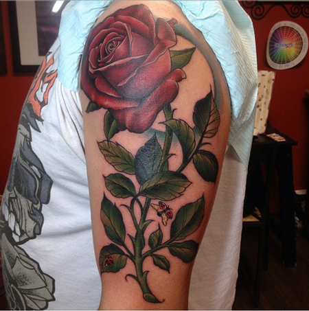 Depiction Tattoo Gallery Tattoos Flower Rose With Stem Tattoo