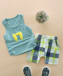 Pre Order - Awabox Checks Print Top & Shorts Set - Green