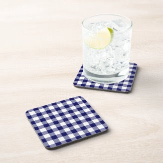 Navy and White Gingham Pattern corkcoaster