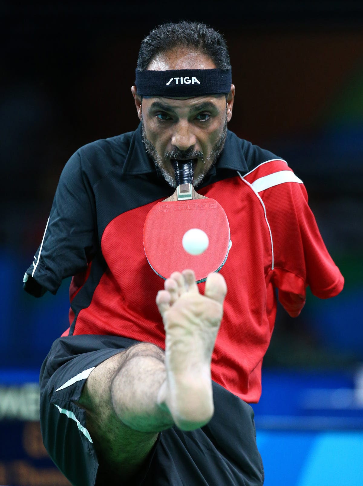 Ibrahim Hamadtou, a 43-year-old Egyptian, competes in table tennis despite not having arms.