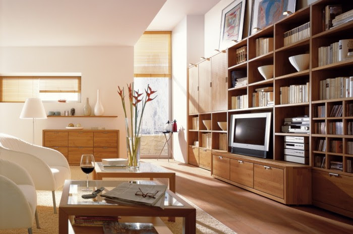This medium wood media unit offers plenty of storage and display surfaces to hold oft-used items and everyday devices.